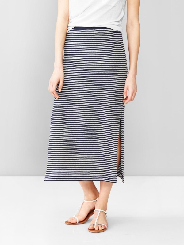 Gap Thin Stripe Slit Maxi Skirt In Blue - Lyst