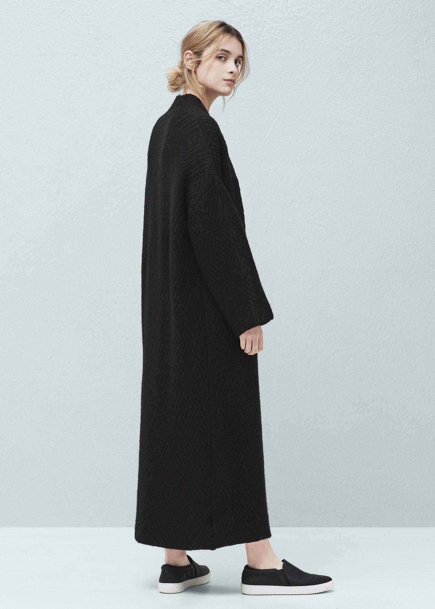 Lyst  Mango Long Cardigan in Black