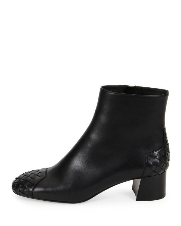 Lyst - Bottega Veneta Woven Cap-toe Leather Ankle Boot In Black