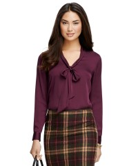 Lyst - Brooks Brothers Bow-front Silk Blouse in Purple