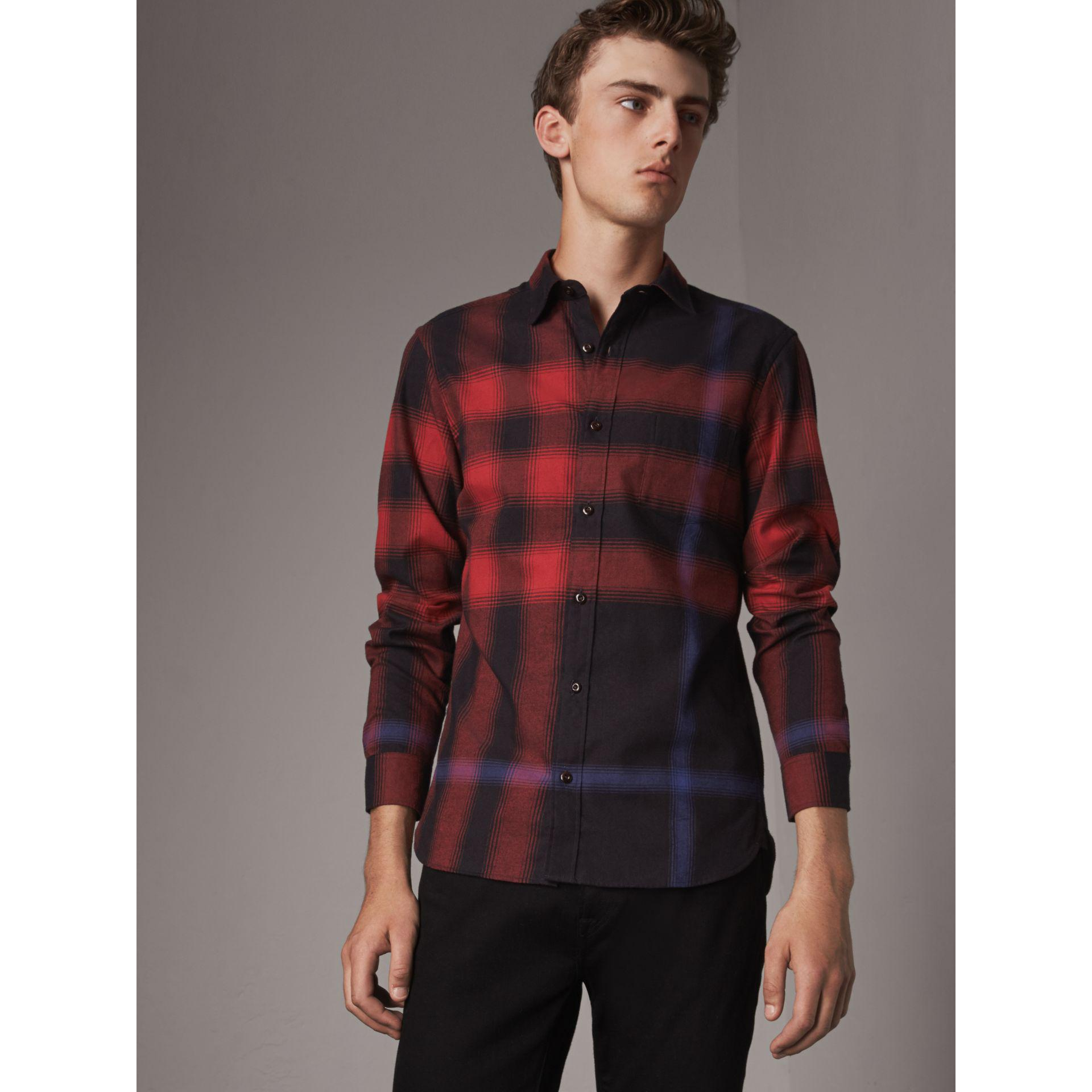 Lyst - Burberry Ombré Check Cotton Flannel Shirt in Red for Men