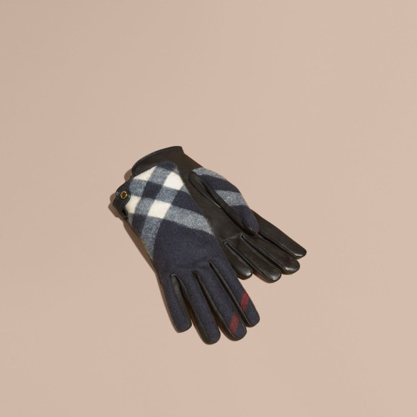 Burberry Leather And Check Cashmere Gloves Navy In