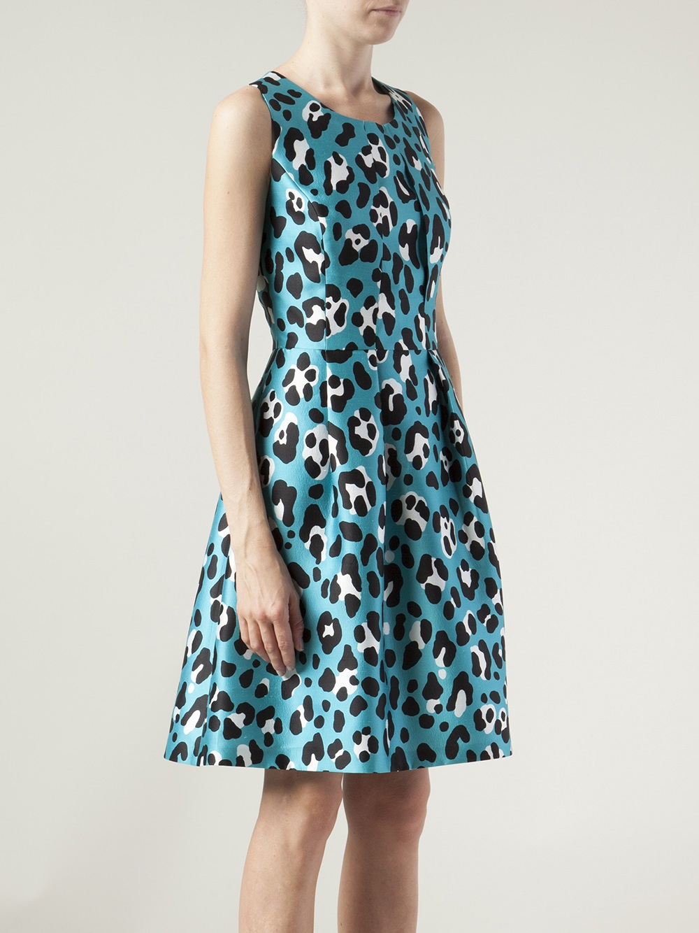 Michael kors Animalprint Bell Dress in Blue  Lyst