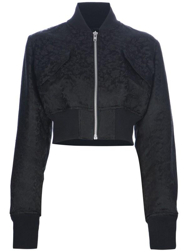 Lyst - Yohji Yamamoto Cropped Silk Bomber Jacket In Black