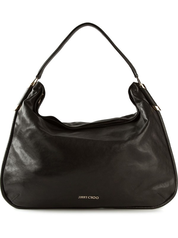 Jimmy Choo Large 'zoe' Hobo Shoulder Bag In Black Lyst