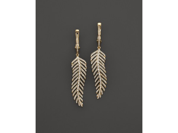 Kc Design Diamond Wavy Feather Drop Earrings In 14k