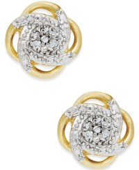 Macy's Diamond Love Knot Stud Earrings In Sterling Silver ...