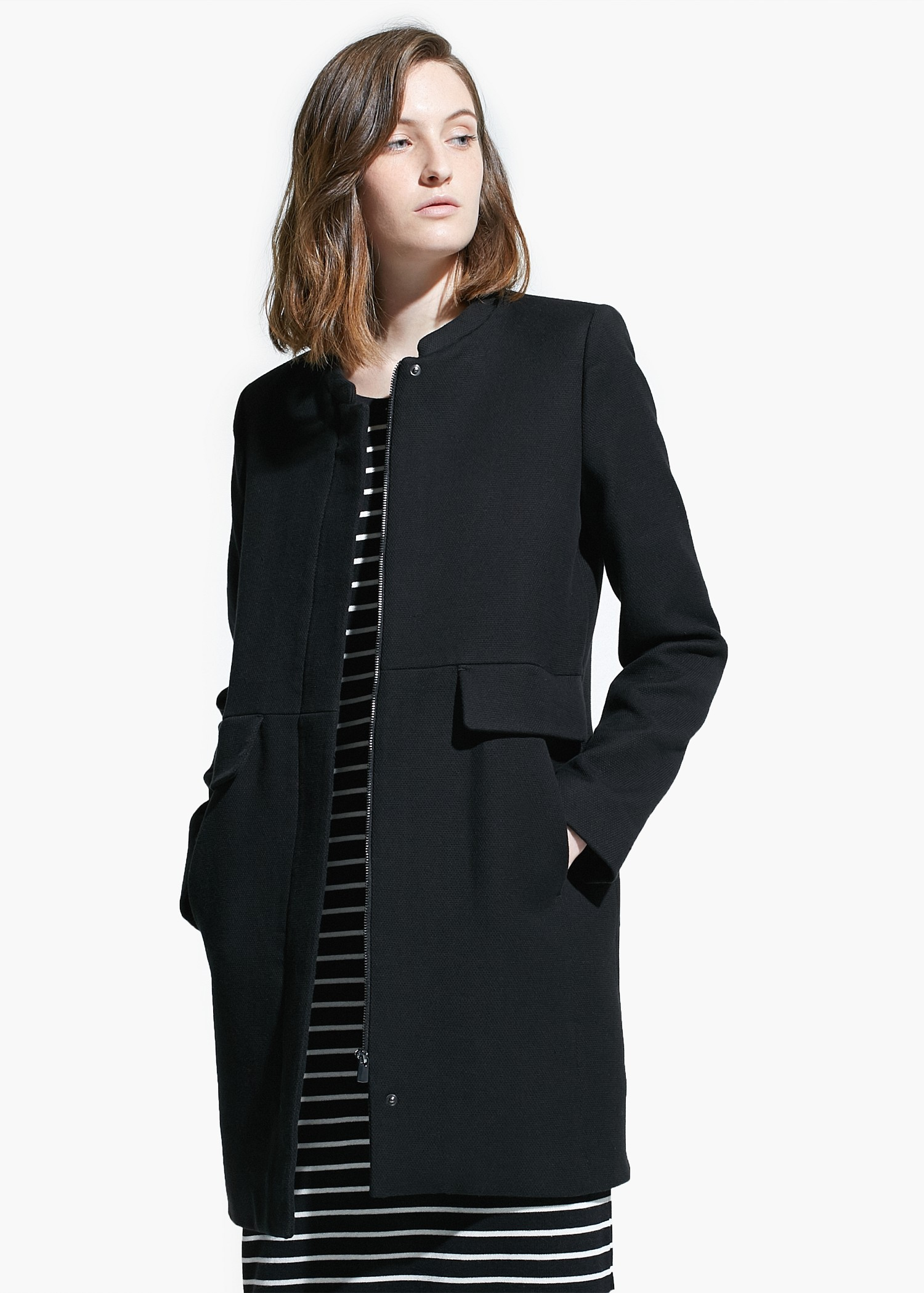 Mango Wool Blend Straight Cut Coat In Black Lyst