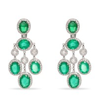 Lyst - Sanjay kasliwal Diamond Emerald Chandelier Earrings ...