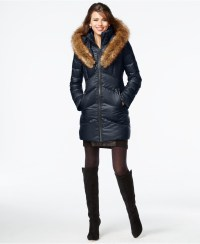 Lyst - Kensie Faux-fur-trim Shawl-collar Quilted Coat in Blue