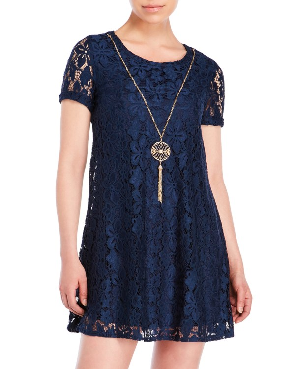 City Triangles Lace Necklace Dress In Blue Lyst