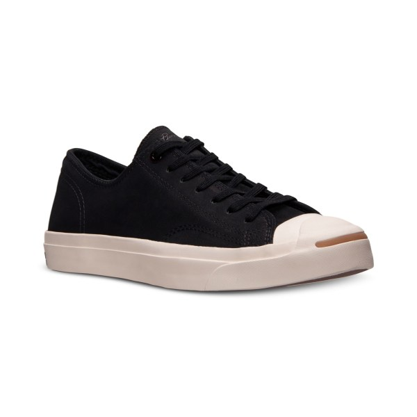Converse Mens Jack Purcell Black Leather Sneakers
