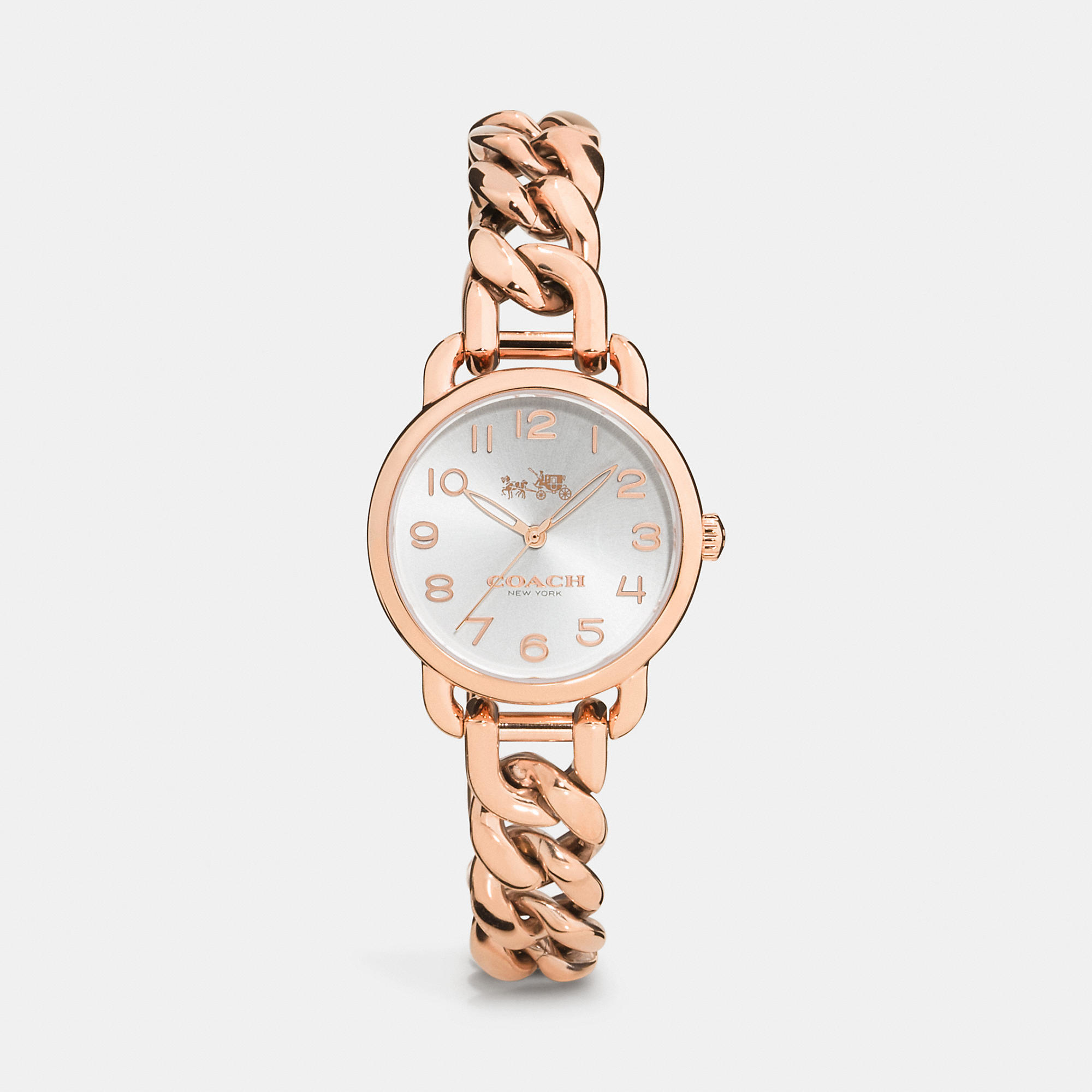 Coach Delancey Rose Gold Plated Chain Link Bracelet Watch