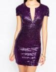 Purple Sequin Bodycon Dresses
