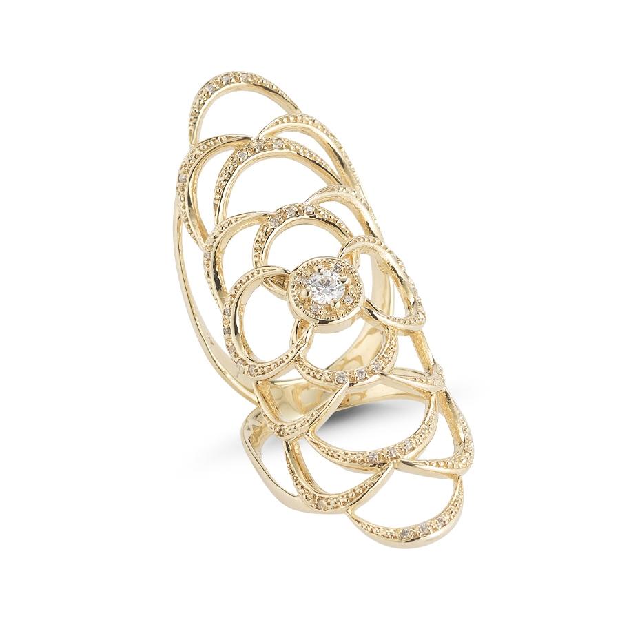 Mizuki Icicle Crescent Knuckle Ring in Metallic