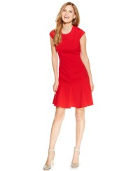Lyst - Calvin klein Petite Diamond-pattern Fit-and-flare ...
