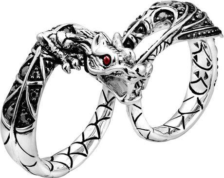 John Hardy Naga Silver Twofinger Dragon Ring in Silver ( 8