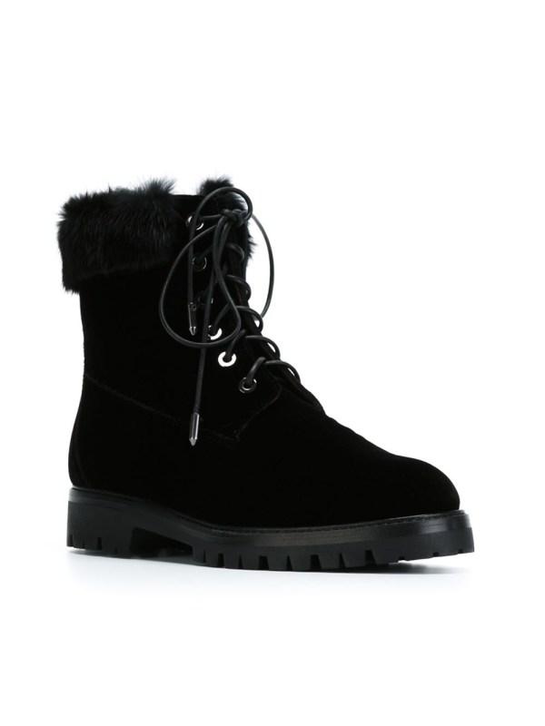Lyst - Aquazzura Faux Fur Trim Lace- Boots In Black