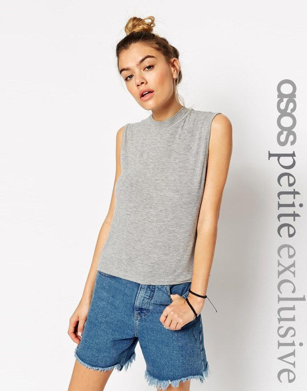 Lyst - Asos Sleeveless Tank Top With High Neck In Gray