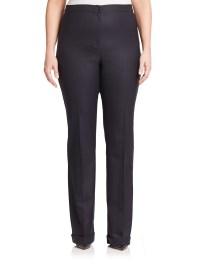 Lyst - Marina Rinaldi Wool & Silk Cuffed Pants in Black