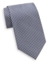 Lyst - Saks Fifth Avenue Houndstooth Silk Tie in Blue for Men