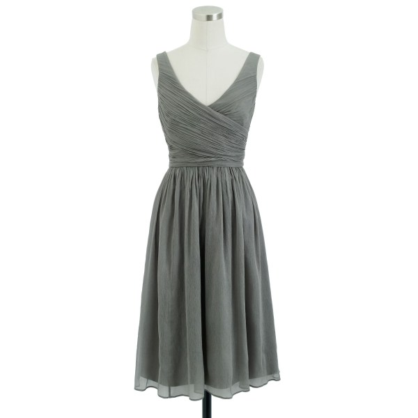 Crew Heidi Dress In Silk Chiffon Gray Graphite Lyst