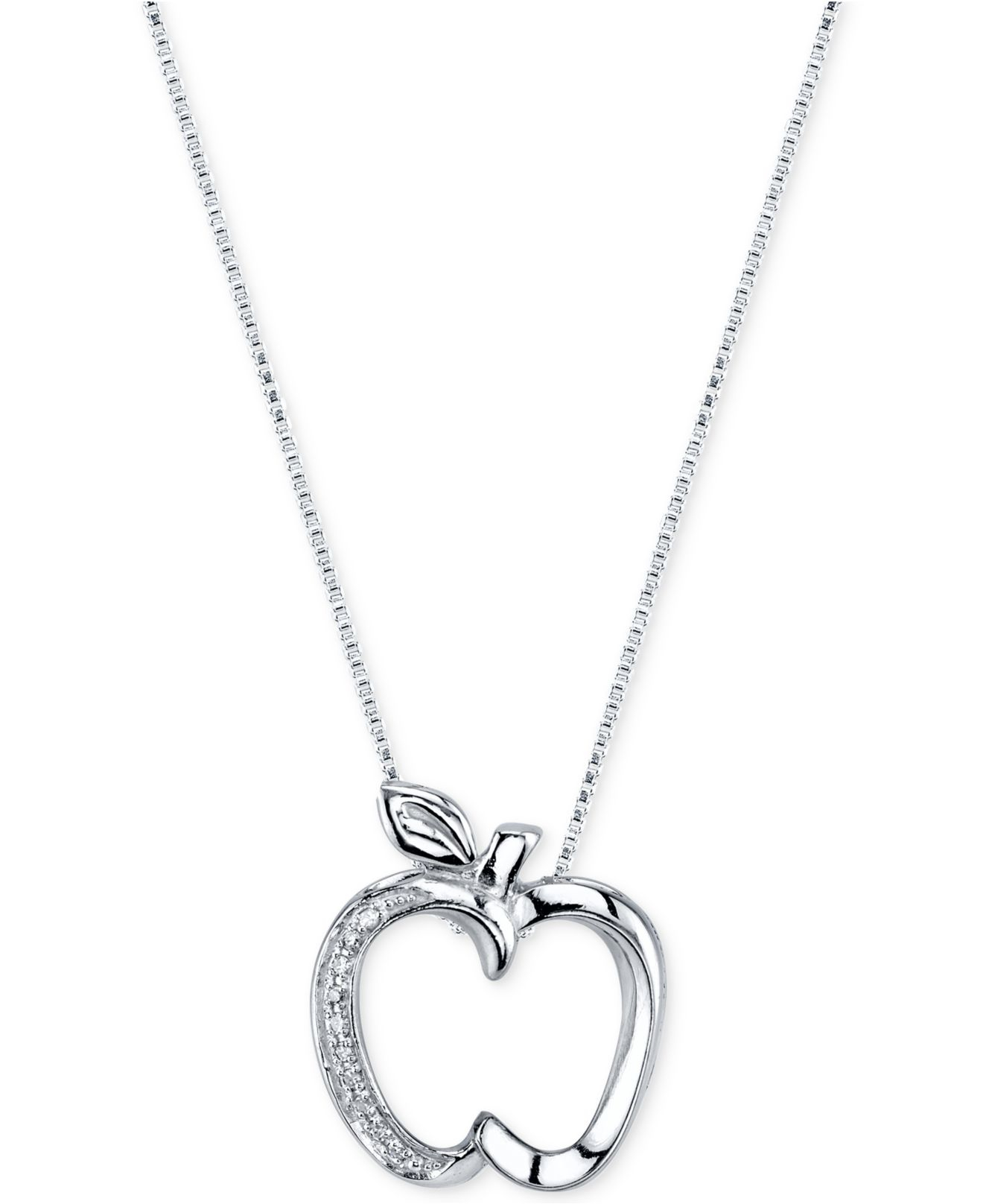Disney Diamond Accent Apple Pendant Necklace In Sterling