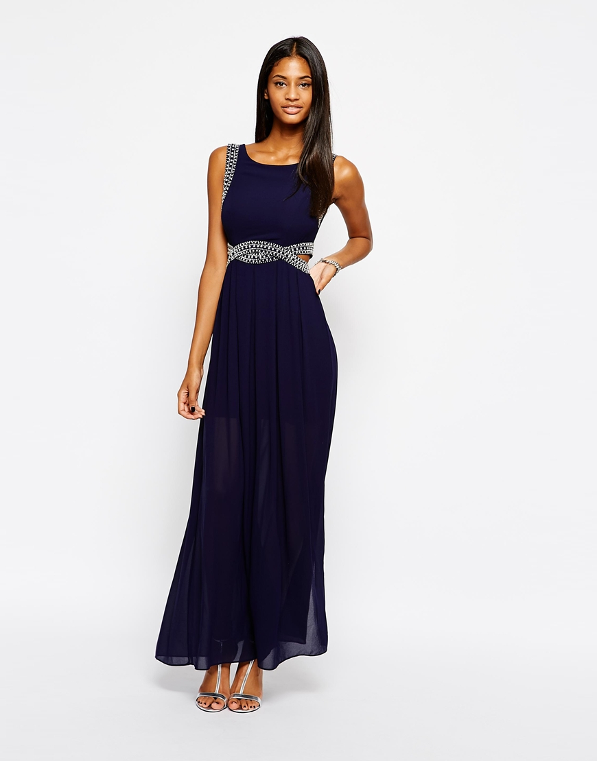 Tfnc London Maxi Dress With Embellishment And Cut Out