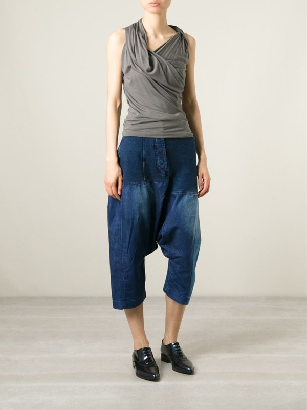 Lyst - Rundholz Cropped Drop Crotch Jeans In Blue