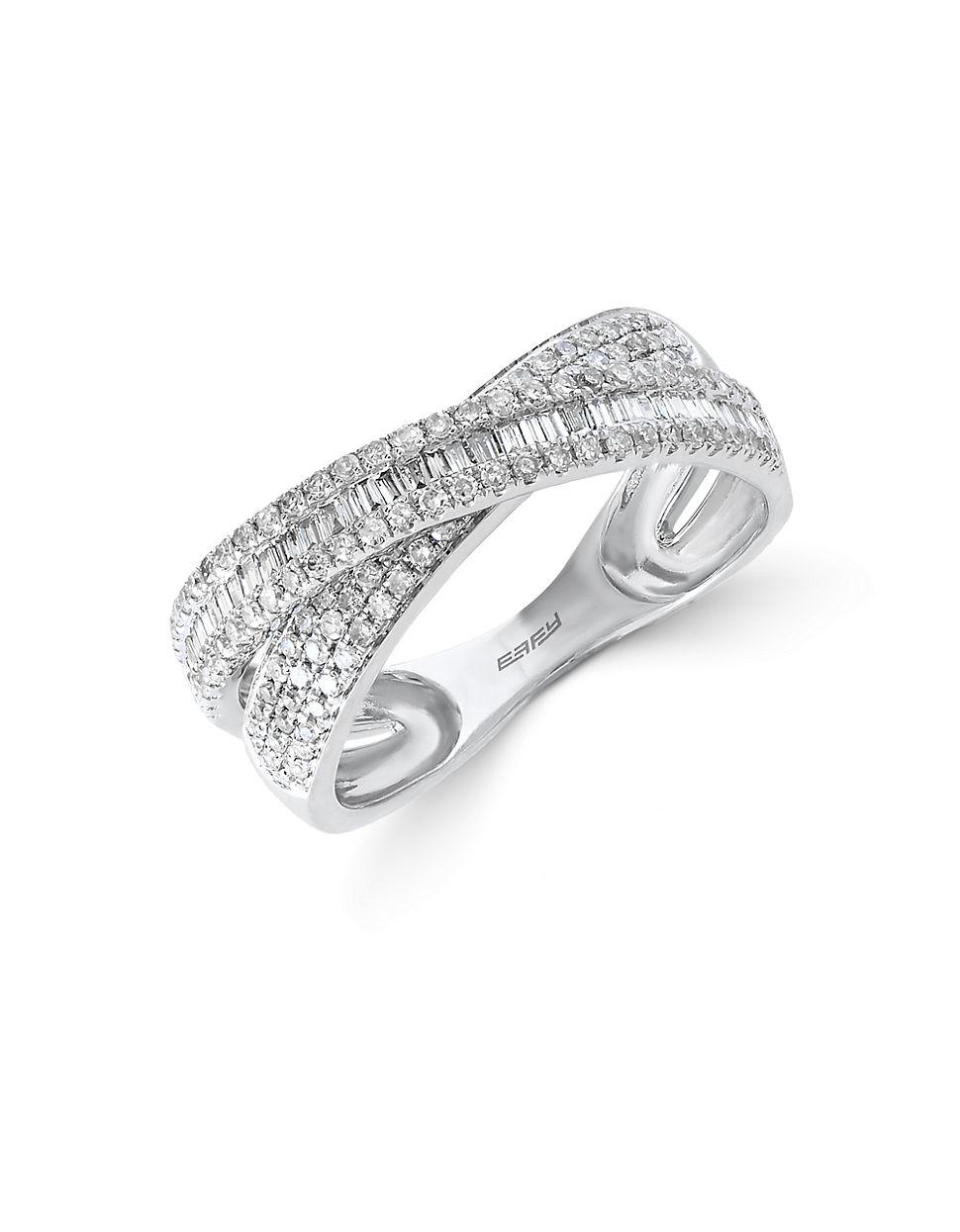 Effy Classique Diamond And 14k White Gold Crisscross Ring