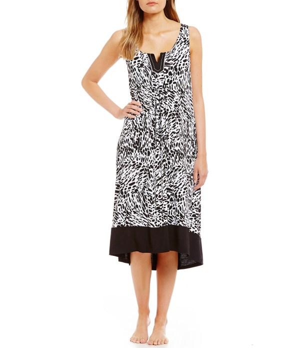 Anne Klein Abstract Jersey Bra Nightgown In Black Lyst