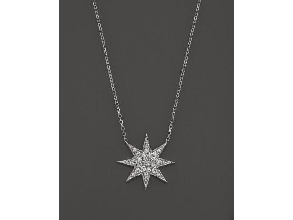Kc Design Diamond Star Pendant Necklace In 14k White Gold