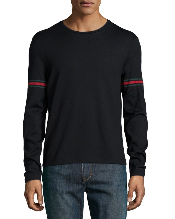 82cb00e35dae Gucci Long-sleeved T-shirt With Arm Band Details In Black Men Lyst