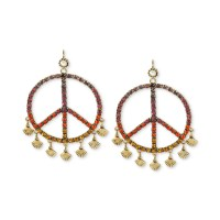 Betsey Johnson Goldtone Multicolor Crystal Peace Sign