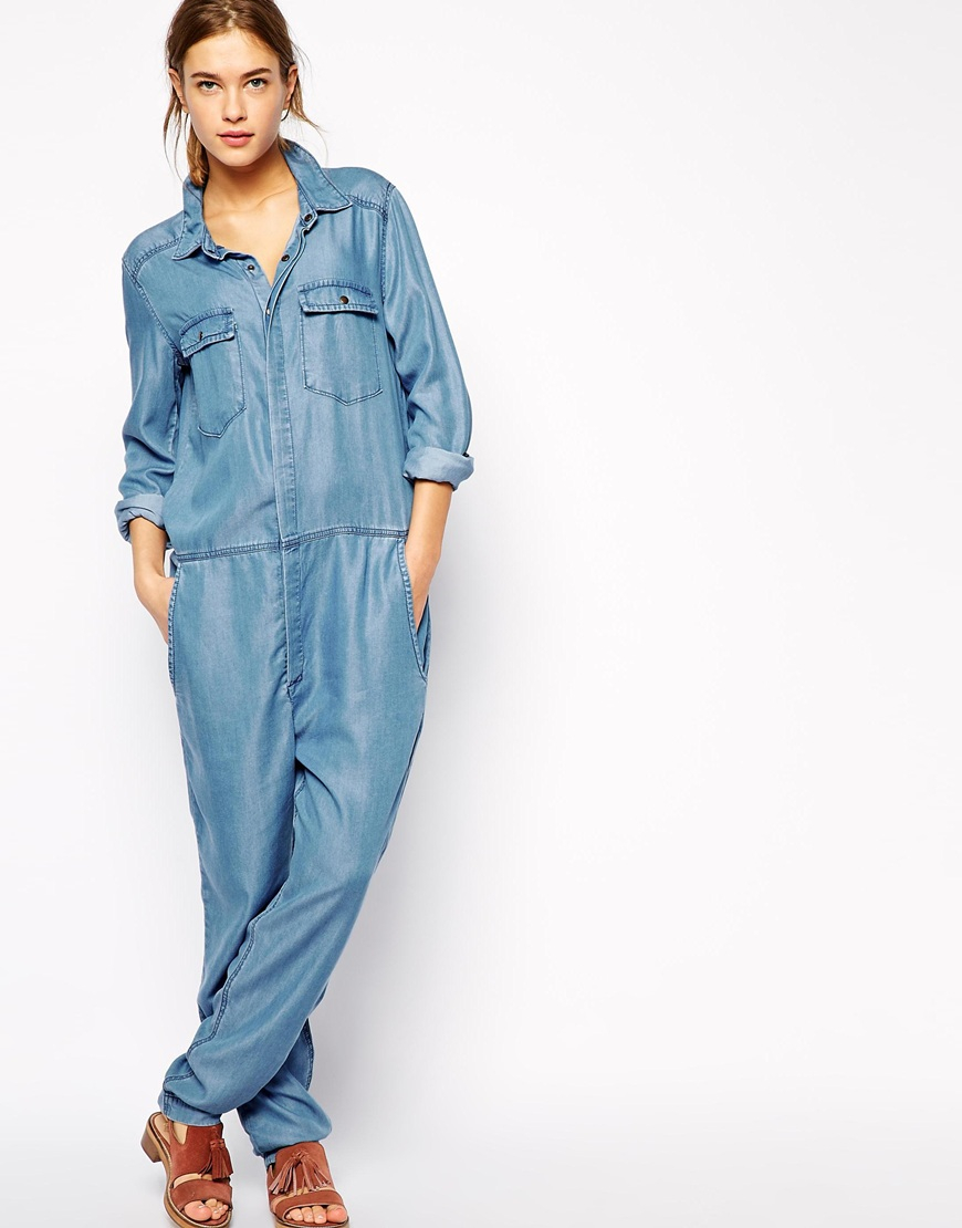 Ganni Boiler Suit In Chambray in Blue  Lyst