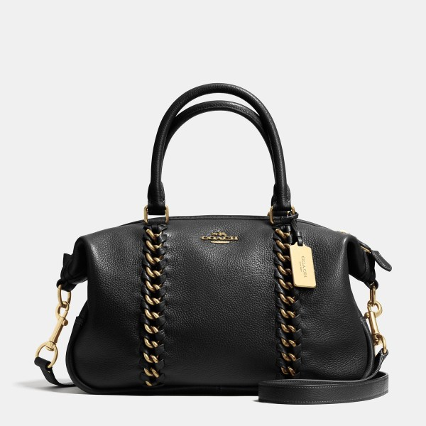 Lyst - Coach Central Whiplash Leather Satchel In Black