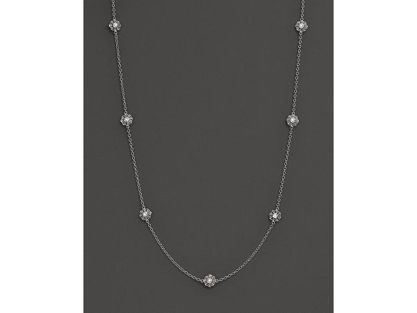 Kc Design Diamond Flower Seven Station Necklace In 14k