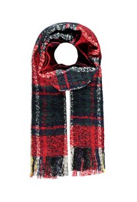 Forever 21 Loop Knit Plaid Scarf in Black