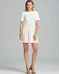 Tibi Dress Crochet Short Sleeve Flirty in White