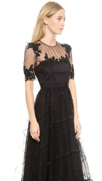 Notte by marchesa Tea Length Dress With Tulle Skirt