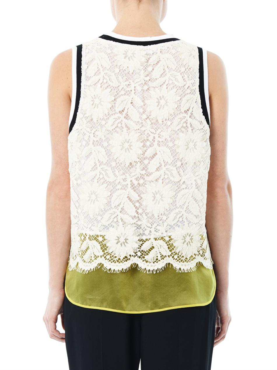 Lyst  MSGM Lace and Organza Tank Top in White