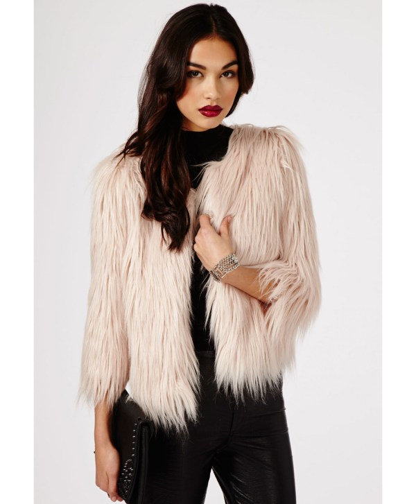 3ad2dba58 Missguided Luda Long Haired Faux Fur Coat In Pink - Lyst