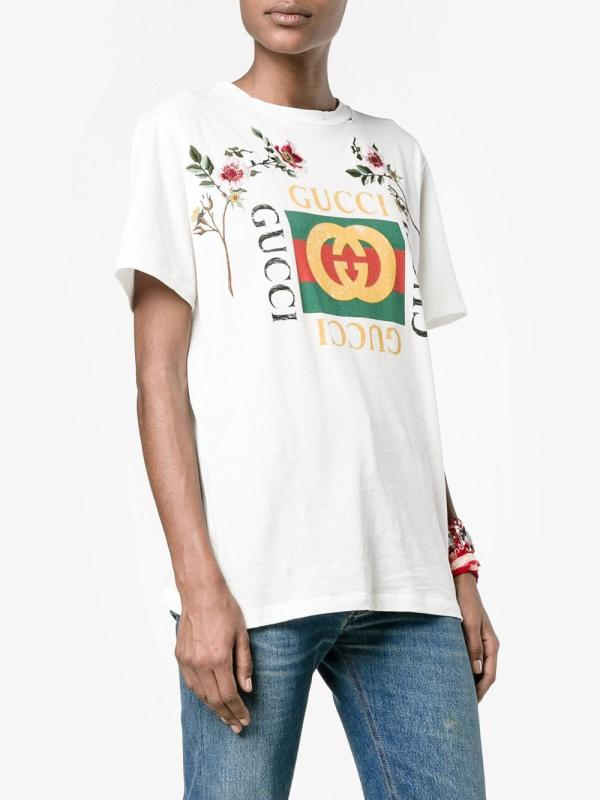 c443e8425566 Lyst - Gucci 'fake ' Embroidered T-shirt In White