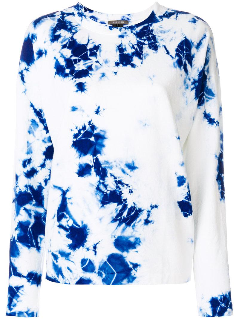 Lyst - Suzusan Tie Dye Long Sleeve T-shirt in White