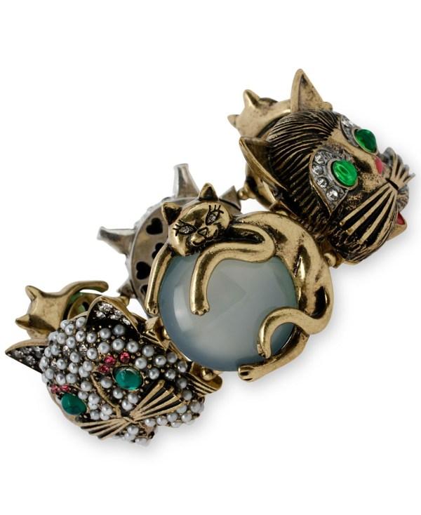 Betsey Johnson Gold-tone Cat Stretch Bracelet Lyst