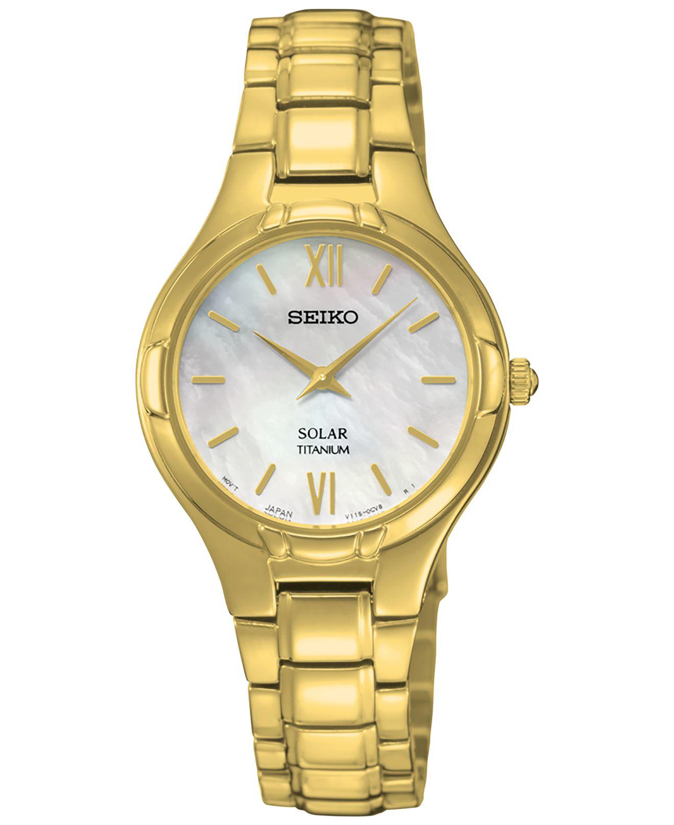Seiko Women S Solar Gold Tone Titanium Bracelet Watch 28mm Sup294 In Metallic