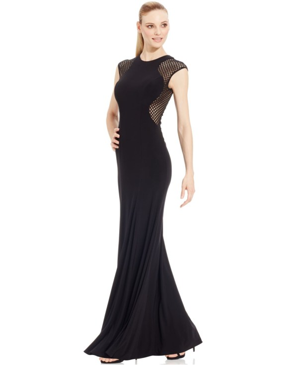 Lyst - Xscape Cap-sleeve Illusion-mesh Gown In Black