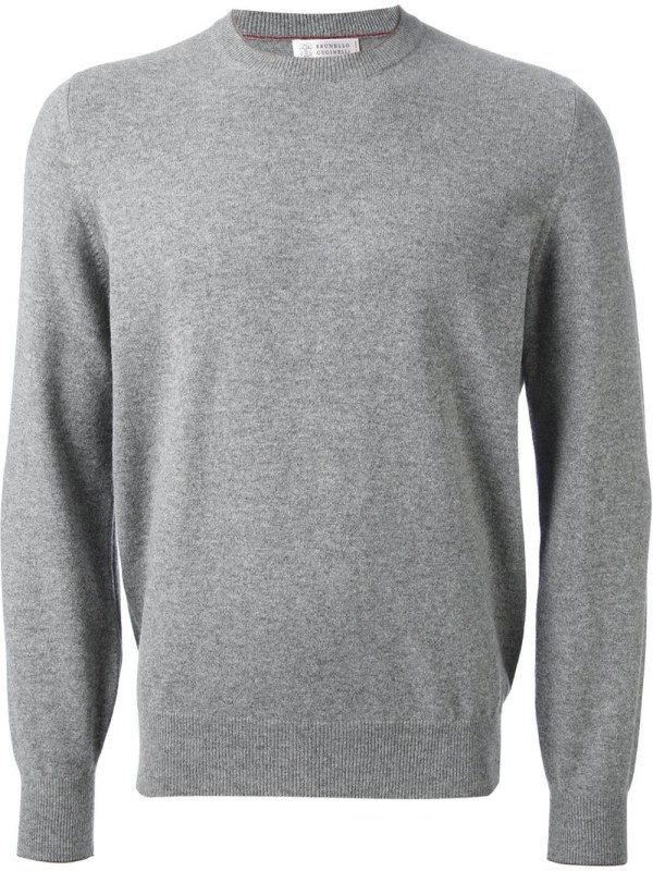 Brunello Cucinelli Crew Neck Sweater In Gray Men Grey
