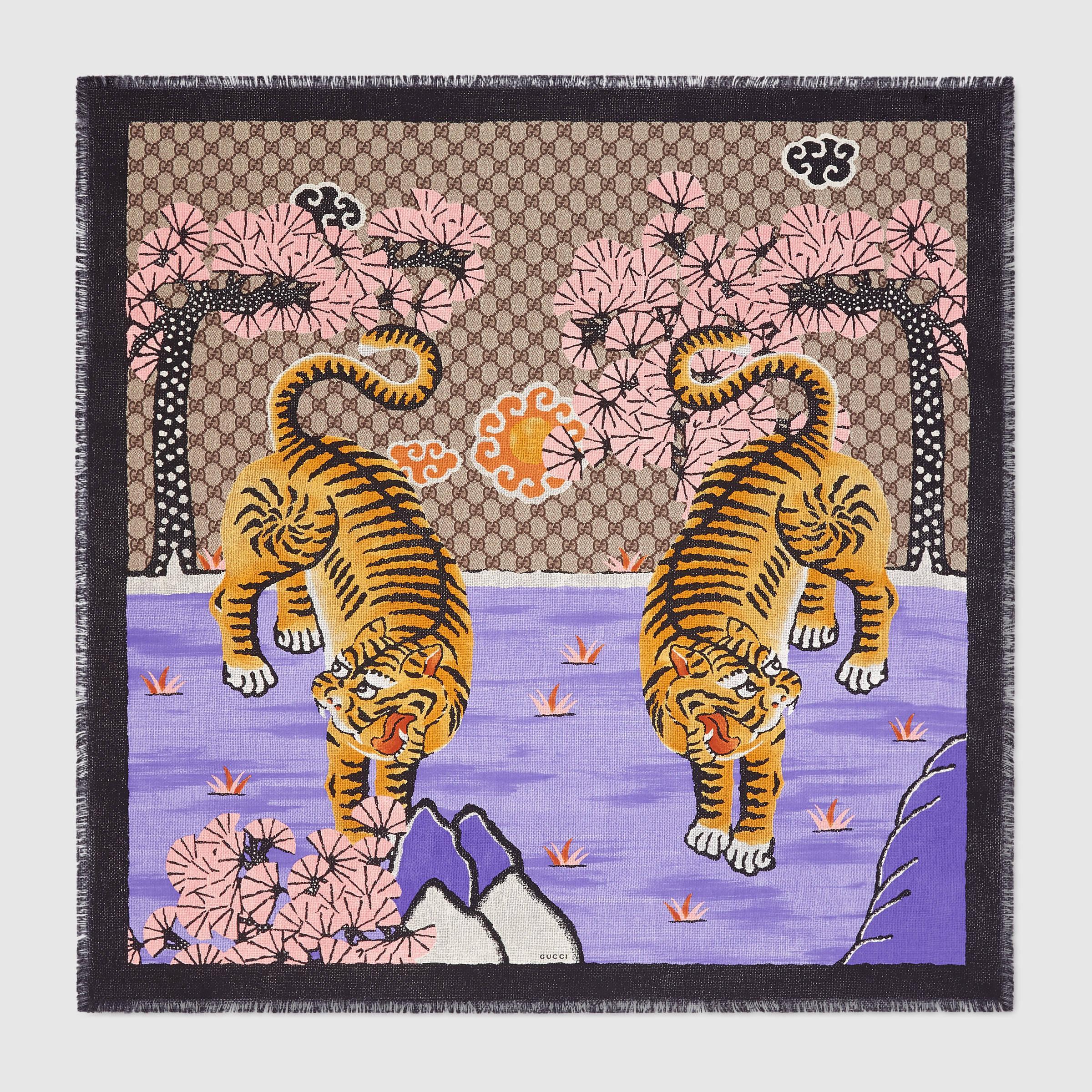 Burberry Wallpaper Iphone X Gucci Bengal Silk Scarf In Purple Lyst