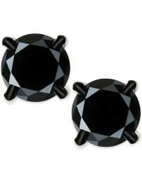 Macy's Men's Black Diamond Stud Earrings In Stainless ...